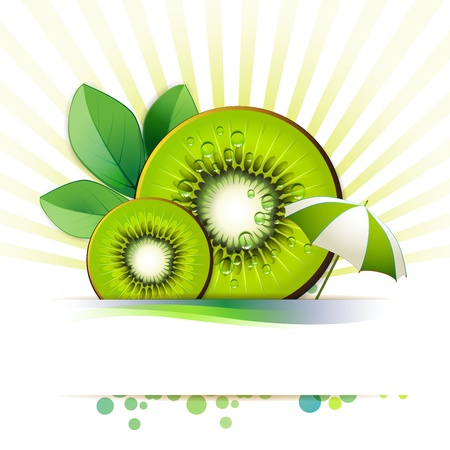 mellow: Slices kiwi with leaf and umbrella Illustration