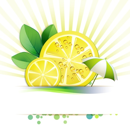 Slices lemon with leaf and umbrella Vector