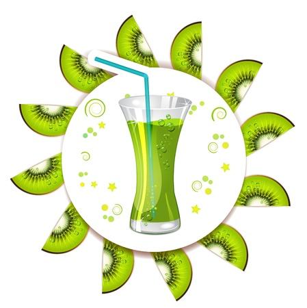 Glass of kiwi juice with slices kiwi Stock Vector - 13133903