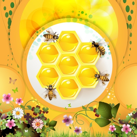 captivated: Bees and honeycomb over yellow background