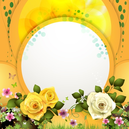 Yellow background with flowers and butterflies Vector