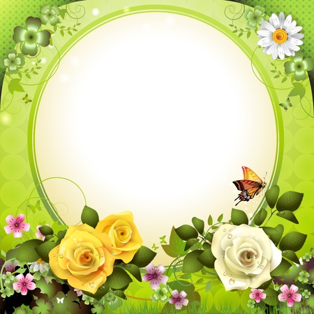 rose butterfly: Springtime background with flowers and butterflies