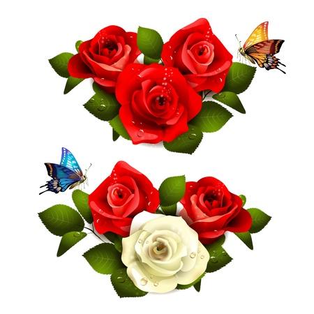 Rozen met vlinders op een witte achtergrond