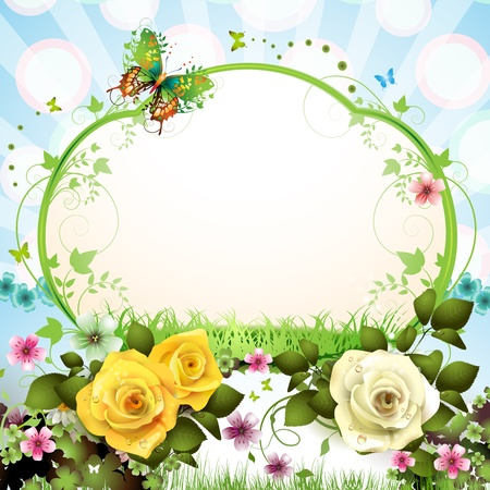 Springtime background with butterflies and roses Vector