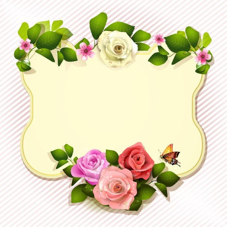 rose frame: Mirror with roses and butterfly