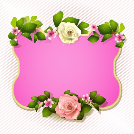 Pink mirror with roses  Vector