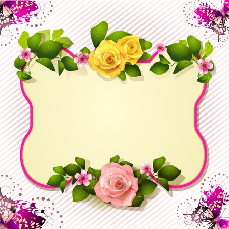Mirror with roses and butterfly Vector
