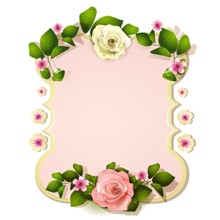 Mirror decorated with roses Vector