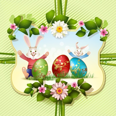 Easter card with bunnies and eggs Vector