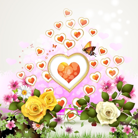 Hearts with roses for Valentine s Day Vector