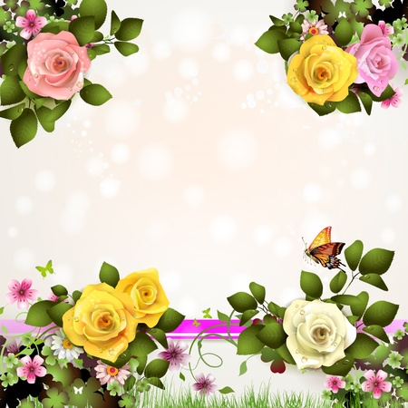 gele rozen: Lente achtergrond met bloemen en vlinders