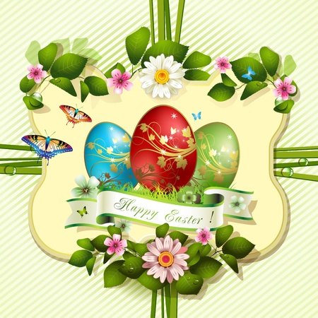Easter card with butterflies and decorated eggs on grass Stock Vector - 13133889