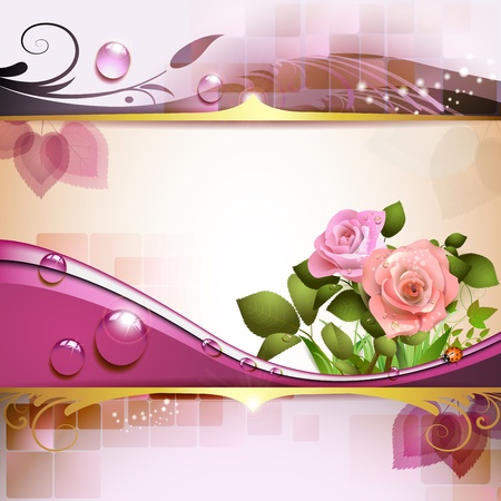 Background with pink roses Illustration
