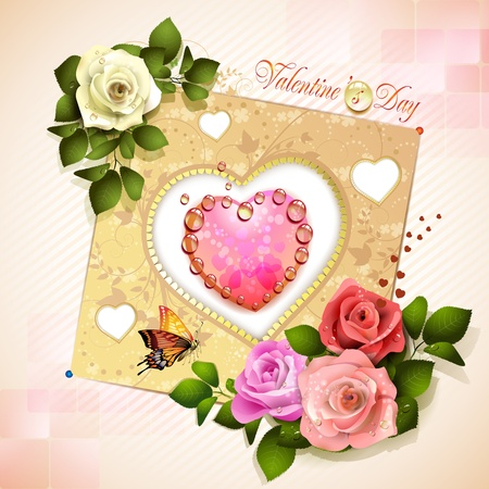 roses and hearts: Valentine s day card with heart and roses