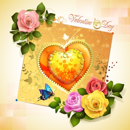 Valentine s day card with heart and roses Vector