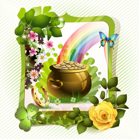 St  Patrick s Day card design with clover and coins  Stock Vector - 13133904