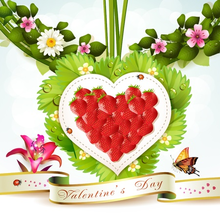 Heart with flowers  Vector