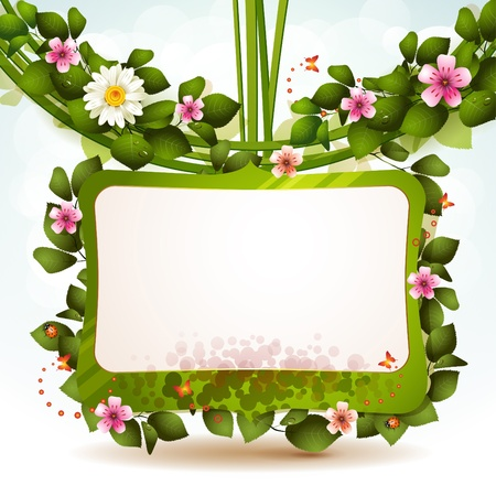 mirror frame: Mirror with flowers and butterflies Illustration