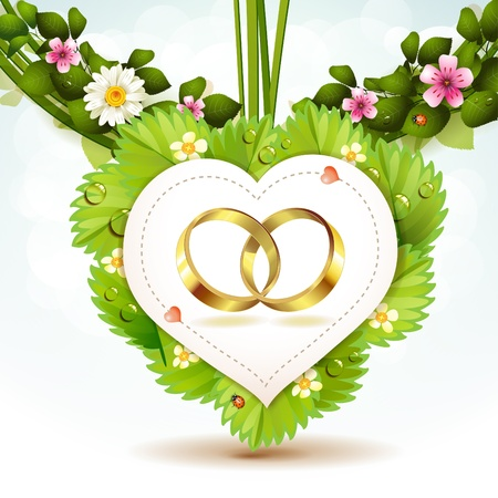 announcement message: Two wedding ring on white shape heart