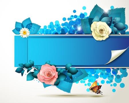 rosas naranjas: Banner de diseño con hojas, flores y mariposas Vectores