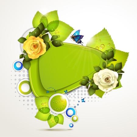 Green banner ontwerp met blad, rozen en vlinders