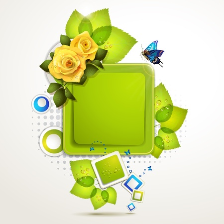 Green banner design with leaf, roses and butterflies  Vector