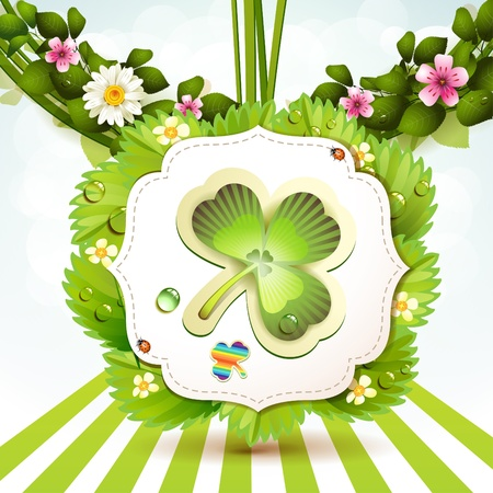 st patric: St  Patrick s Day card design with clover