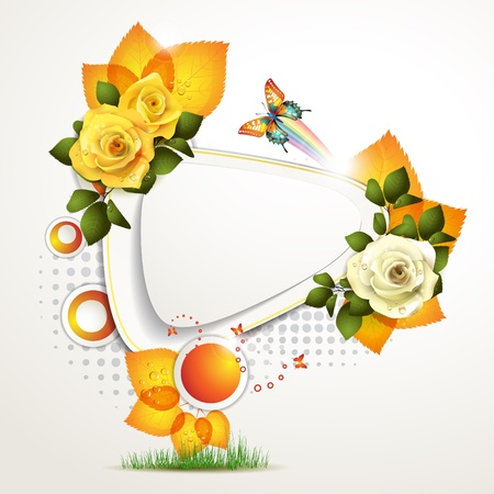 White banner design with leaf, roses and butterflies Vector