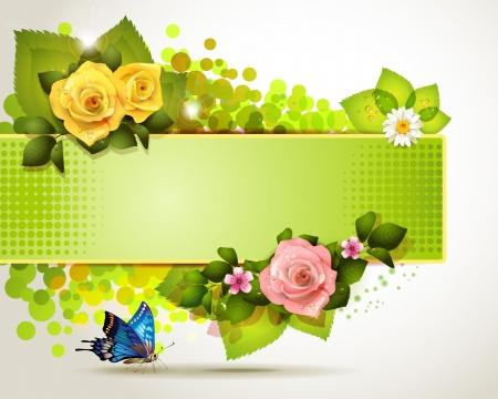 rosas naranjas: Banner de diseño con hojas, flores y mariposas Foto de archivo