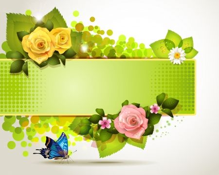 Banner design with leaf, flowers and butterfly  photo