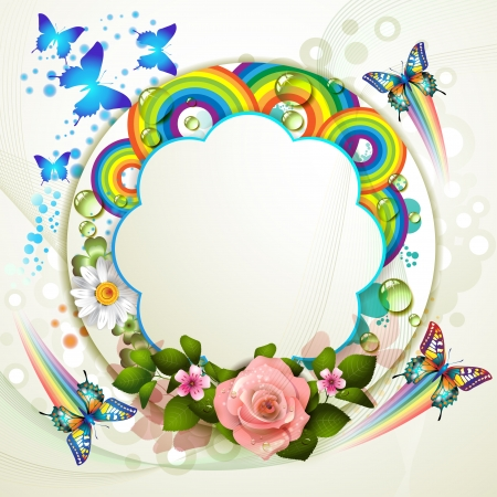 Background with roses and butterflies Stock Vector - 13941087