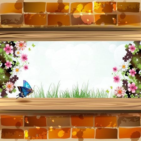 Window frame with flowers Stock Vector - 13941078