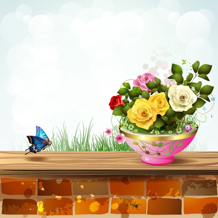 ambiance: Flowerpot with roses and brick wall