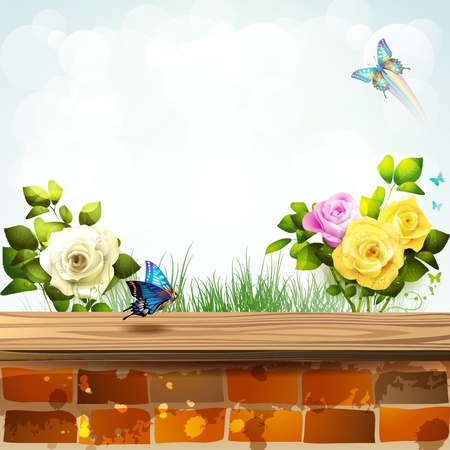 Landscape with brick wall covered by wood and garden roses Vector
