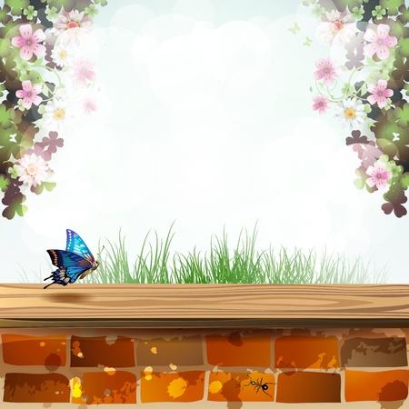 wild grass: Paisaje con pared de ladrillo cubierta de madera y mariposas