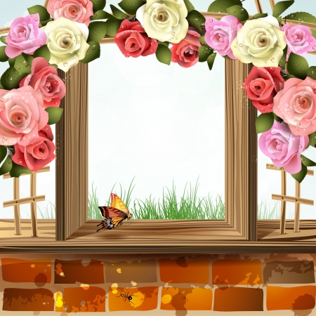 Window frame with roses Stock Vector - 13941140