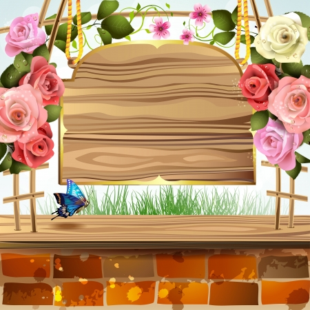 wild nature wood: Wood banner with roses and brick wall Illustration