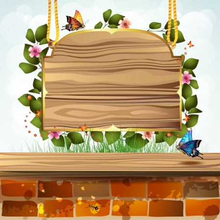 Wood banner with flowers and brick wall  Stock Vector - 13941084
