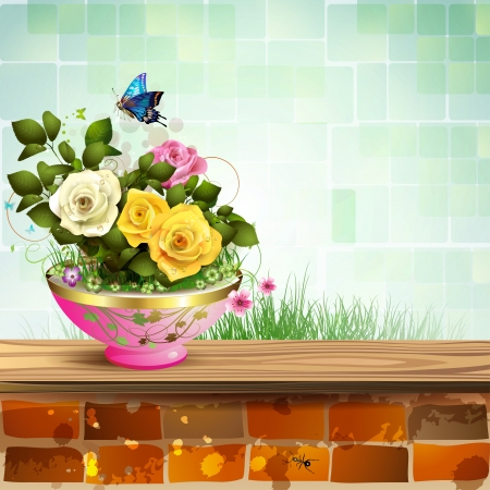 Flowerpot with roses and brick wall Vector