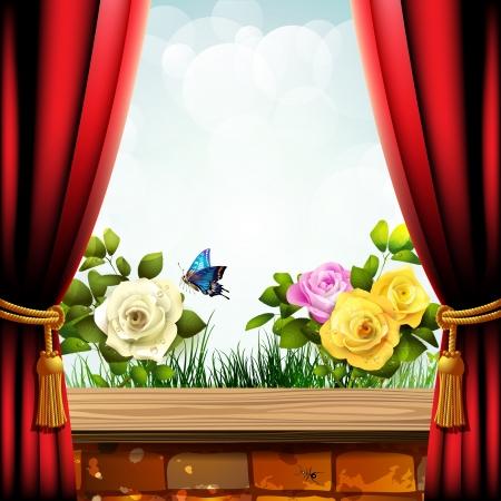 mariposas amarillas: Rosas de jardín con pared de ladrillo y de cortina roja