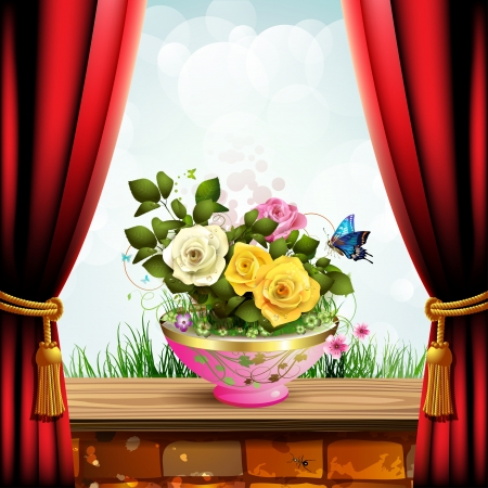 Flowerpot with roses and red curtain Vector