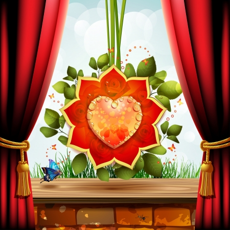 Heart with flowers over brick wall covered by wood and red curtain Vector