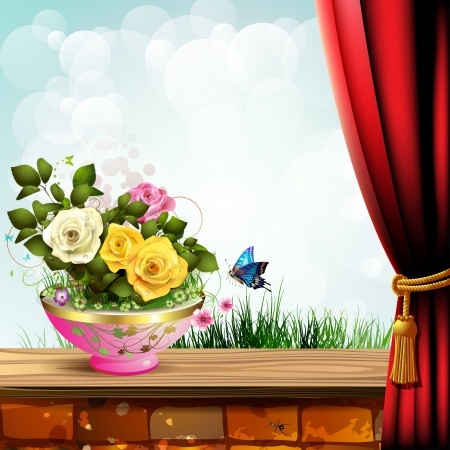 ambiance: Flowerpot with roses and red curtain over landscape Illustration