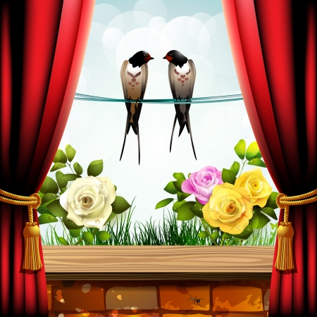 Garden roses with brick wall, red curtain and two swallows Vector
