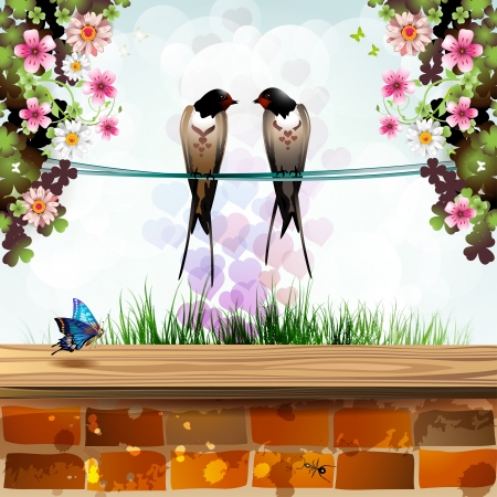 Garden with brick wall and two swallows Vector