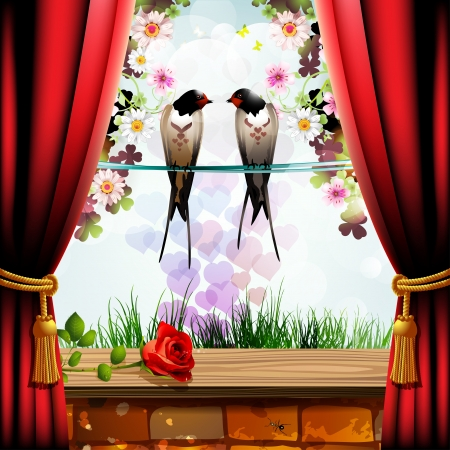 Garden with brick wall, red curtain and two swallows Stock Vector - 13941173