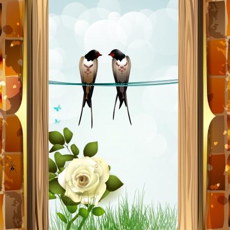 golondrinas: Rosas con pared de ladrillo y dos golondrinas