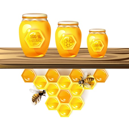 Glass jar and honey over piece of wood Vector