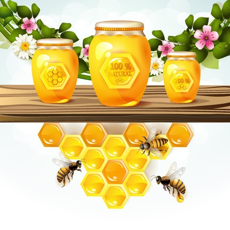 Glass jar and honey over floral background  Vector