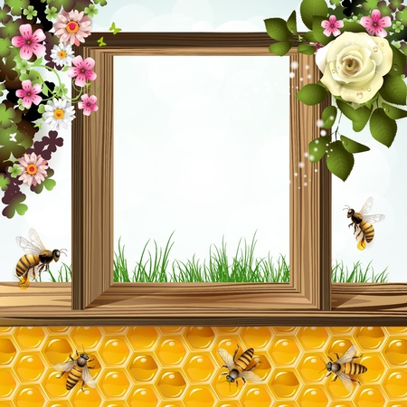 bee on white flower: Window frame with flowers, bees and honeycombs  Illustration